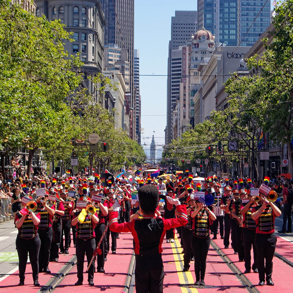 SF Lesbian/Gay Freedom Marching Band plays for the crowd on Market St