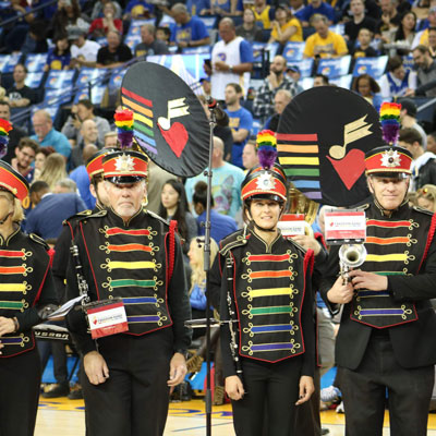 SF Lesbian/Gay Freedom Pep Band play national anthem at Golden State Warriors LGBTQ Night